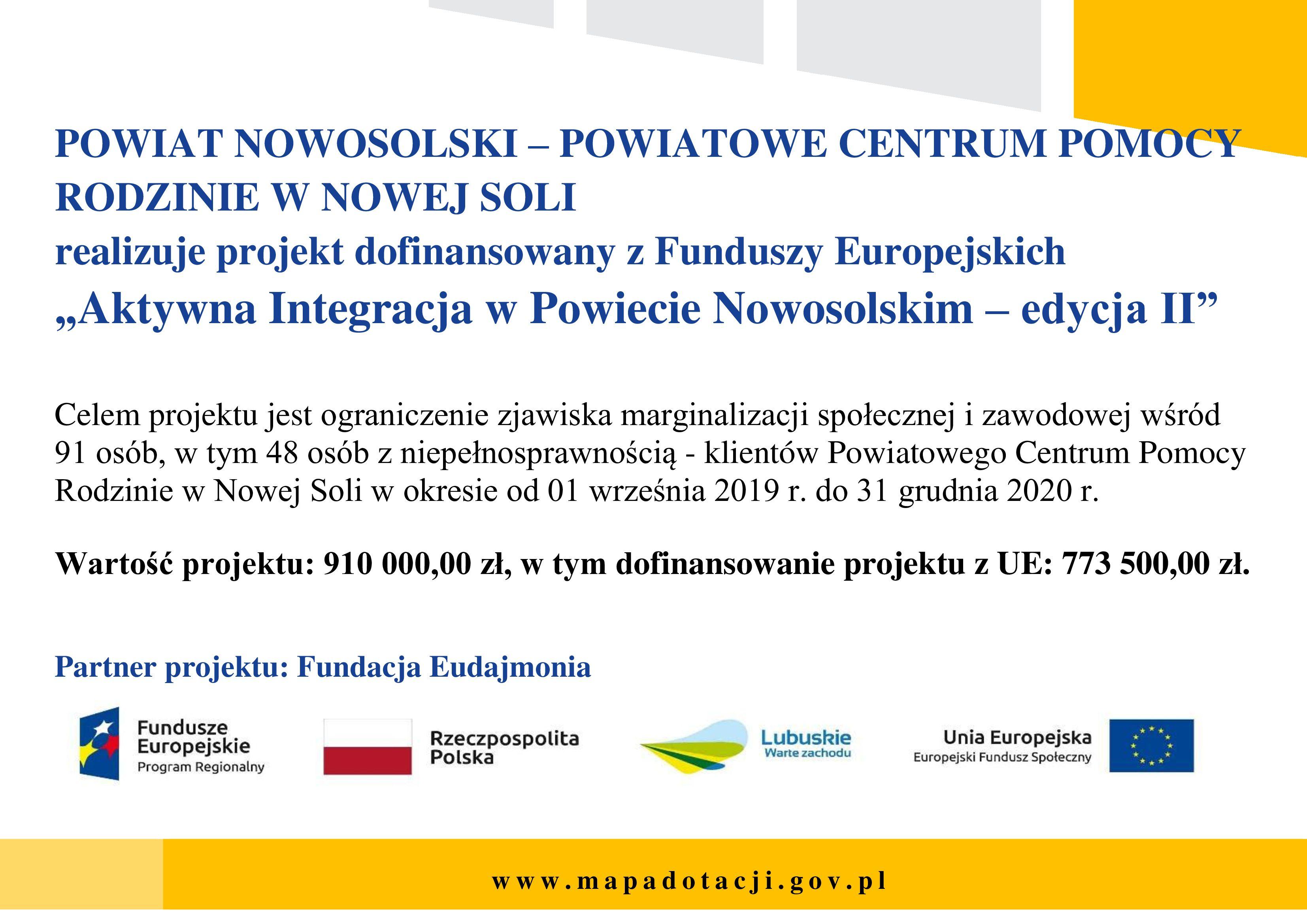 Ilustracja do informacji: AKTYWNA INTEGRACJA W POWIECIE NOWOSOLSKIM - EDYCJA II