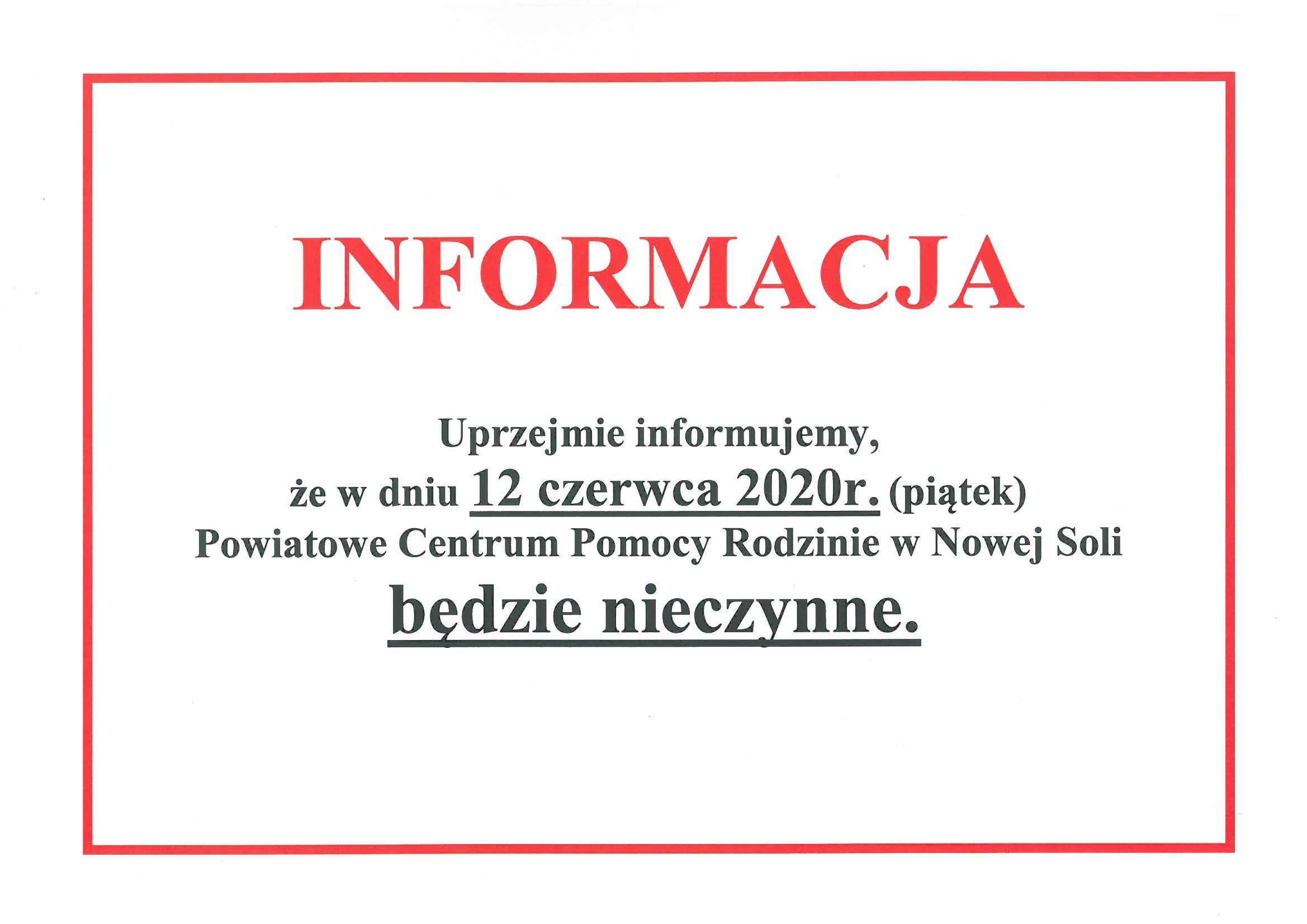 Ilustracja do informacji: 12 czerwca PCPR będzie nieczynne.